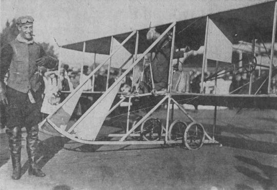 Cal Rodgers lands on Stow Flats with his Vin Fiz plane in 1911.
