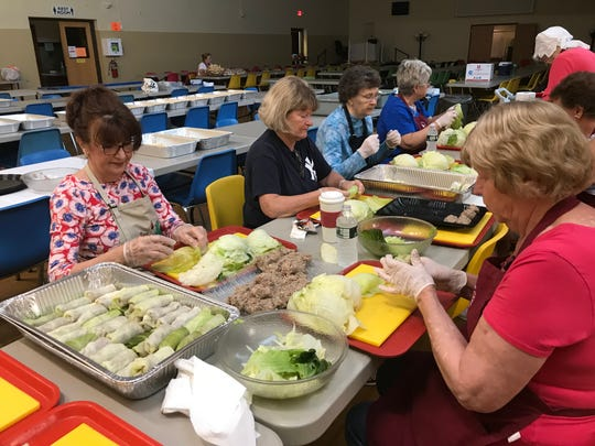 About 25 volunteers gathered at St. Cyril's Church in Binghamton on July 17, 2019 to prepare holupki for St. Cyril's Parish Festival.