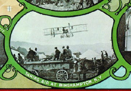 A close-up from the map showing the Vin Fiz in flight from Binghamton.