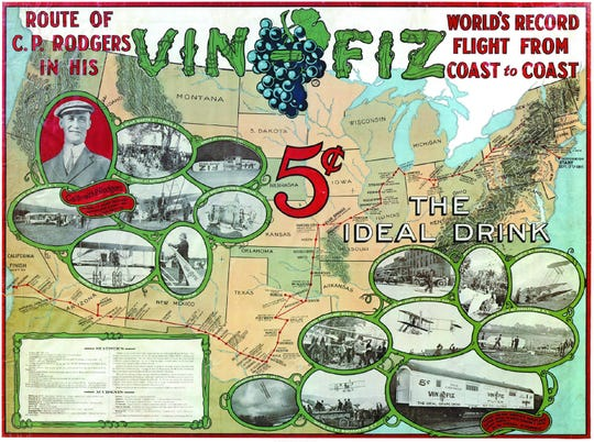 The Armour Co. map of the Vin Fiz journey, including the stop in Binghamton.