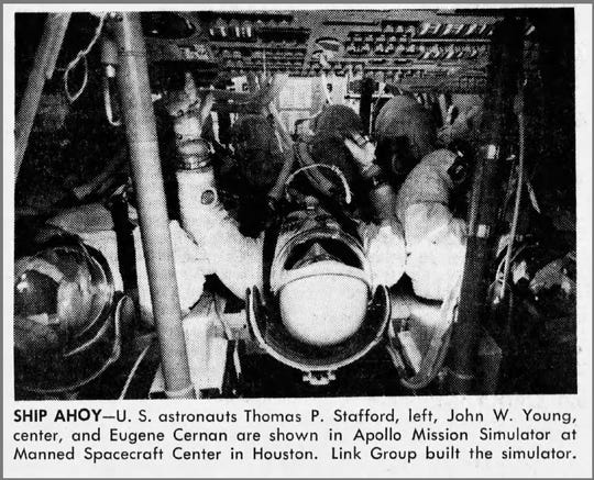 Astronauts are shown in Apollo Mission Simulator, built by Link Group, at the Manned Spacecraft Center in Houston in 1968.