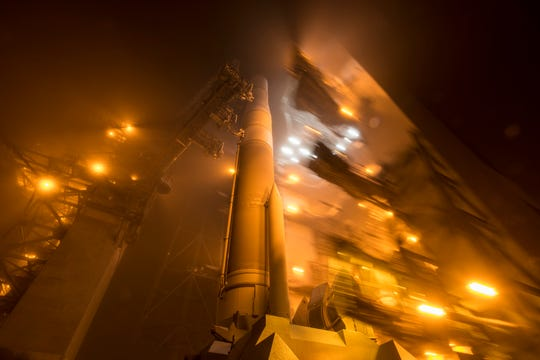 A Delta IV rocket is seen at Cape Canaveral Air Force Station's Launch Complex 37 with a GPS satellite in 2015.
