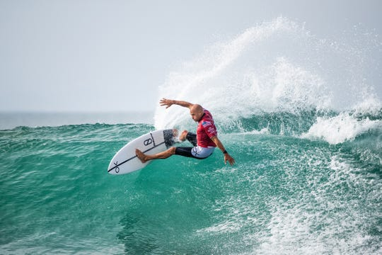 Kelly Slater of Cocoa Beach is eliminated from the 2019 Corona Open J-Bay with an equal 9th finish.