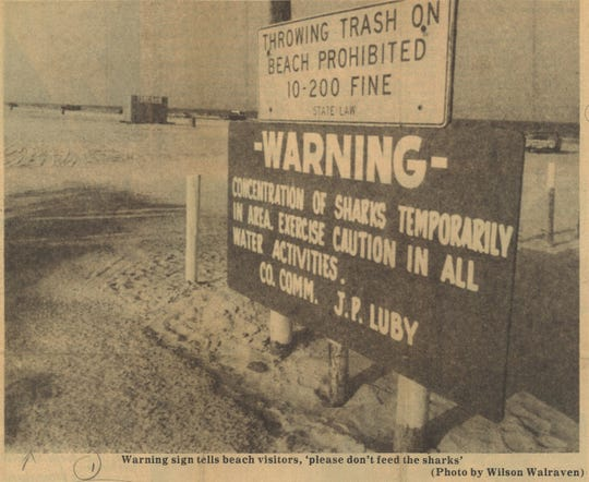 A sign on Padre Island tells beachgoers to beware the sharks in June 1977.