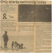 Sharks congregated in the shallow waters of the Gulf of Mexico off Padre and Mustang islands in South Texas for several days in June 1977. Article from Caller-Times on June 2, 1977.