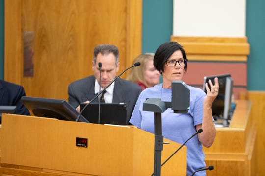 Fallon Wood, the mother of Breanna Wood, speaks to City Council regarding proposed victims memorial on Tuesday, July 16, 2019.