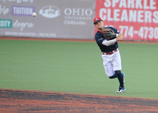 Chillicothe Paint infielder Gavin Homer throws a ball to first base in an 8-4 win over the West Virginia Miners on July 16. The Paints lost to the Miners 7-5 on Friday.