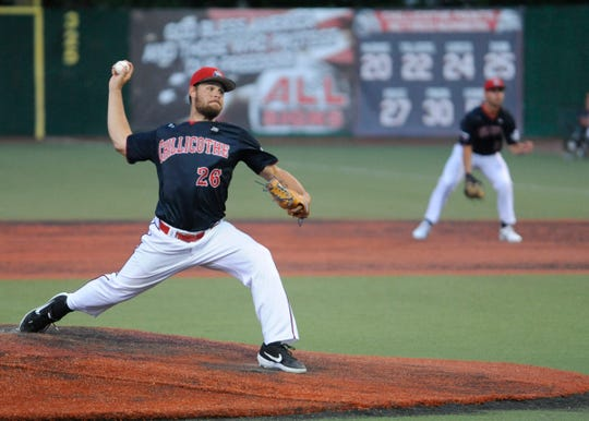 Austin Calopietro throws a pitch in the Chillicothe Paints 8-4 win over the West Virginia Miners on Tuesday night at VA Memorial Stadium in Chillicothe, Ohio, on July 16, 2019.