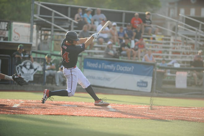 Cody Orr hits the ball in an 8-4 win over West Virginia on July 16. The Chillicothe Paints defeated the Miners 13-5 on the road on Wednesday.