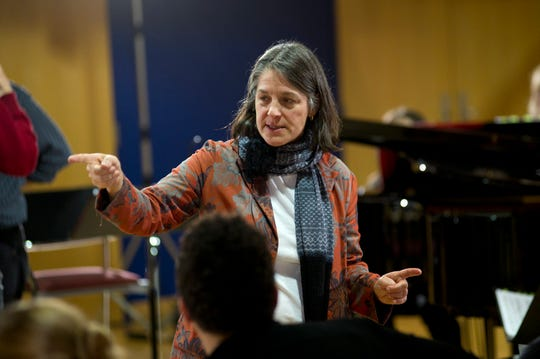 """As the head of opera at the College-Conservatory of Music, Robin Guarino is also the co-director of Opera Fusion, a collaborative program between CCM and Cincinnati Opera. Here, she is seen in a 2011 rehearsal of John Patrick Shanley and Douglas Cuomo's """"Doubt."""""""