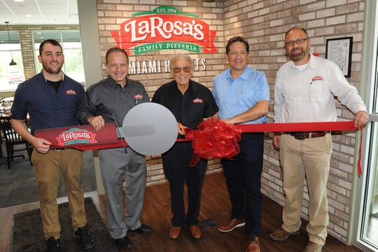Steve Florimonte, General Manager, LaRosa's Miami Heights and resident of Bridgetown; Michael LaRosa, CEO, LaRosa's, Inc. and resident of Delhi; Buddy LaRosa, Founder, LaRosa's Inc. and resident of Price Hill; Mark LaRosa, President and Chief Culinary Officer, LaRosa's, Inc. and resident of Mt. Adams; Brian T. Cundiff, Executive Vice President of Operations, LaRosa's Inc. and resident of North Bend.