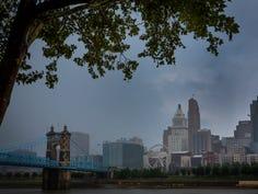 Stormy skies in Cincinnati seen from Covington, Kentucky, on July 17, 2019.
