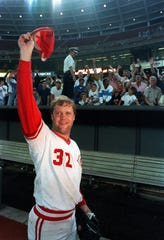 Cincinnati Reds pitcher Tom Browning tips his hat to the crowd at Riverfront Stadium in Cincinnati, Ohio, Friday night, Sept. 16, 1988, after he threw a perfect game against the Los Angeles Dodgers.  Cincinnati won 1-0.