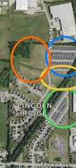 Location of current and proposed Kading Properties development north of Iowa Avenue in east Indianola. The blue and green circles indicate existing Lincoln Ridge Estates. Yellow and orange circles indicate proposed developments.