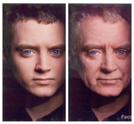 Iowa-born actor Elijah Wood aged by Faceapp.