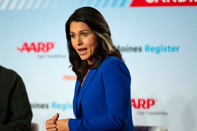 Rep. Tulsi Gabbard, D-Hawaii, speaks at the AARP Presidential Forum at the Hotel at Kirkwood Center in Cedar Rapids, Iowa, on July 17, 2019.