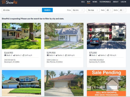 Homes listed for sale on ShowPal's website on July 17, 2019.