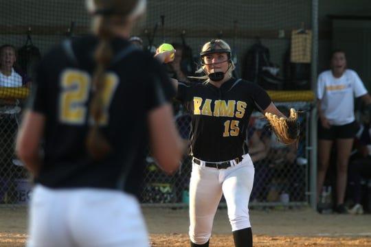 Southeast Polk junior Lexi Hilzer throws to first for an out in the 2019 Class 5A regional final. Indianola came from behind to tie the game in the bottom of the seventh then won 5-4 in the ninth to win.