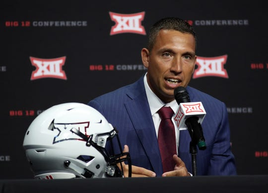 Iowa State Cyclones head coach Matt Campbell speaks to the media during Big 12 media days at AT&T Stadium.