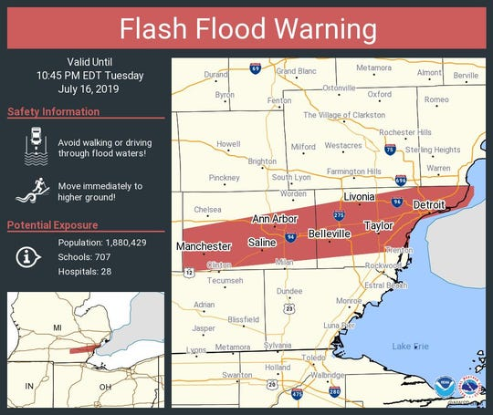 A flash flood warning is in effect for parts of southeastern Michigan on Tuesday, July 16.