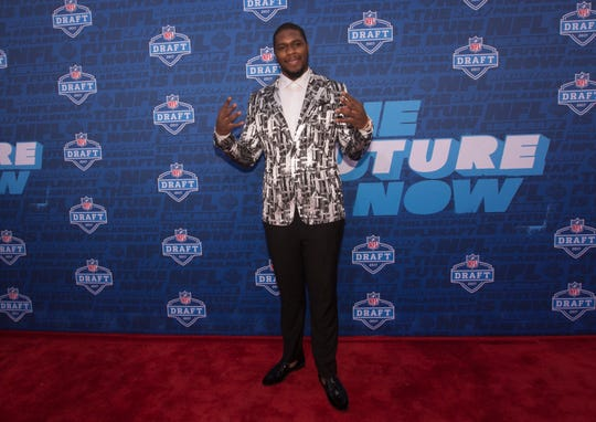 Malik McDowell of Michigan State poses for a picture on the red carpet prior to the start of the 2017 NFL Draft on April 27, 2017 in Philadelphia, Pennsylvania.