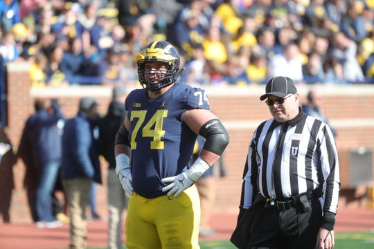 Michigan offensive lineman Ben Bredeson