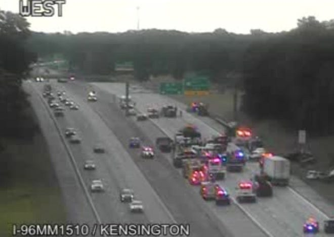 A multi-car pileup on westbound Interstate 96 at Kensington has closed the freeway.