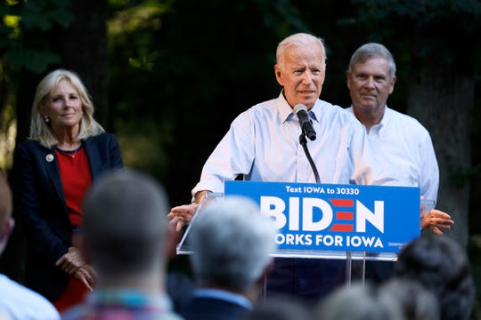 Former Vice President and Democratic presidential candidate Joe Biden speaks during a house party at former Agriculture Secretary Tom Vilsack's house, Monday, July 15, 2019, in Waukee, Iowa.