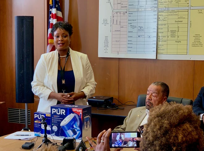 Highland Park spokeswoman Marli Blackman addresses the media on Wednesday as the city reveals elevated levels of lead in some homes in the city.