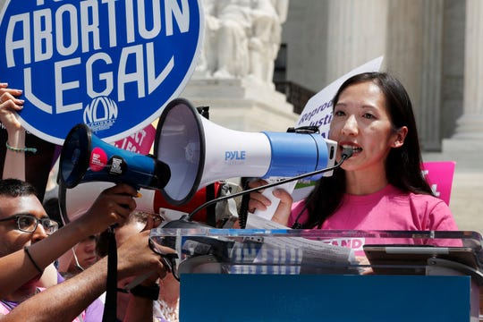 Planned Parenthood President Leana Wen speaks during a protest against abortion bans outside the Supreme Court in Washington on May 21, 2019.