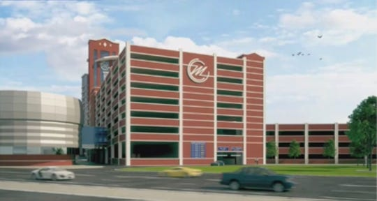 A rendering of the proposed 700-space parking garage for the MotorCity Casino Hotel.