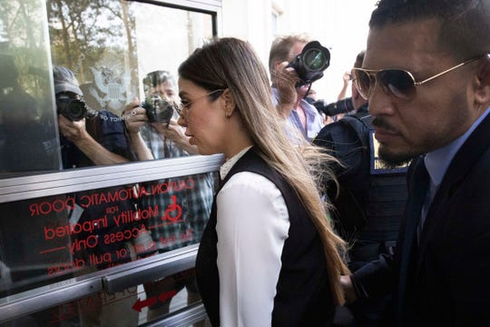 "Emma Coronel Aispuro, wife of Mexican drug lord Joaquin ""El Chapo"" Guzman, arrives for his sentencing at Brooklyn federal court, Wednesday, July 17, 2019 in New York."