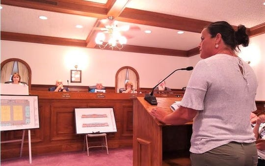 Clyde Recreation Board member Melanie Allen presents a plan for a new community center to Clyde City Council on July 16.