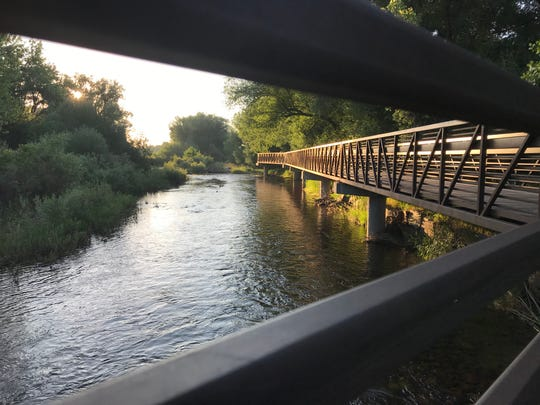 The morning light shines on the Poudre River Trail bridge along the Poudre River at Butterfly Woods Natural Area near Laporte.