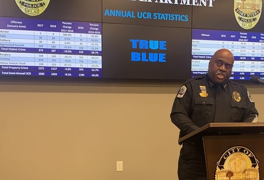 A nearly across-the-board decrease in crime in Fort Myers for the first six months of 2019 was touted in statistics released by FMPD chief Derrick Diggs on Wednesday, July 17, 2019.