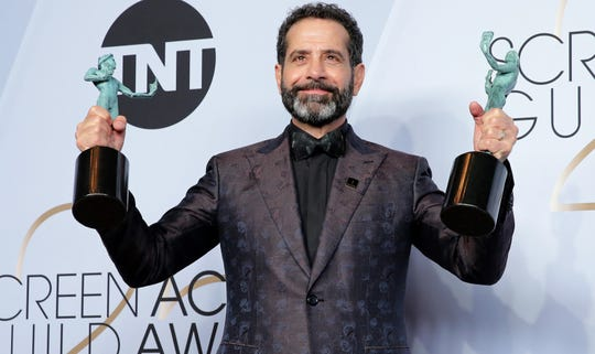 "Tony Shalhoub celebrates his two Screen Actors Guild Award wins for ""The Marvelous Mrs. Maisel"" in January."
