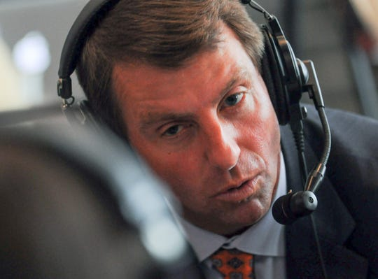 Clemson Head Coach Dabo Swinney speaks with radio personalities during ACC Media Football Kickoff at the Westin Charlotte Wednesday.