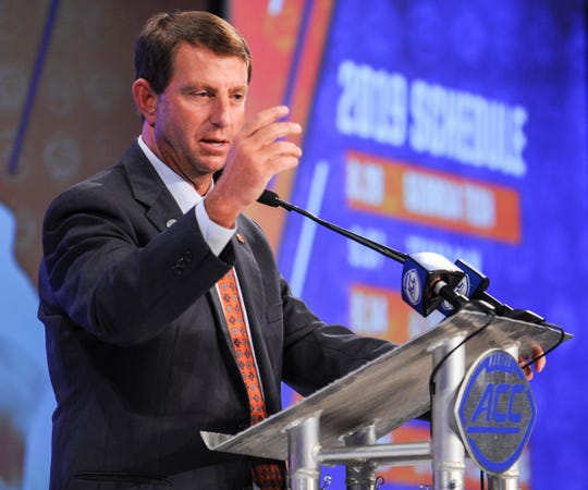 Clemson Head Coach Dabo Swinney speaks during ACC Media Football Kickoff at the Westin Charlotte Wednesday.