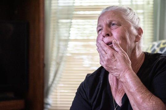 Elaine Cook, 65, of Greer, the sister of Harold Joseph Barton, 66, who died Tuesday, July 9, 2019, after he was struck by a motorcycle late Monday night as he was crossing Interstate 185, becomes emotional as she talks about her brother at her home in Greer Tuesday, July 16.