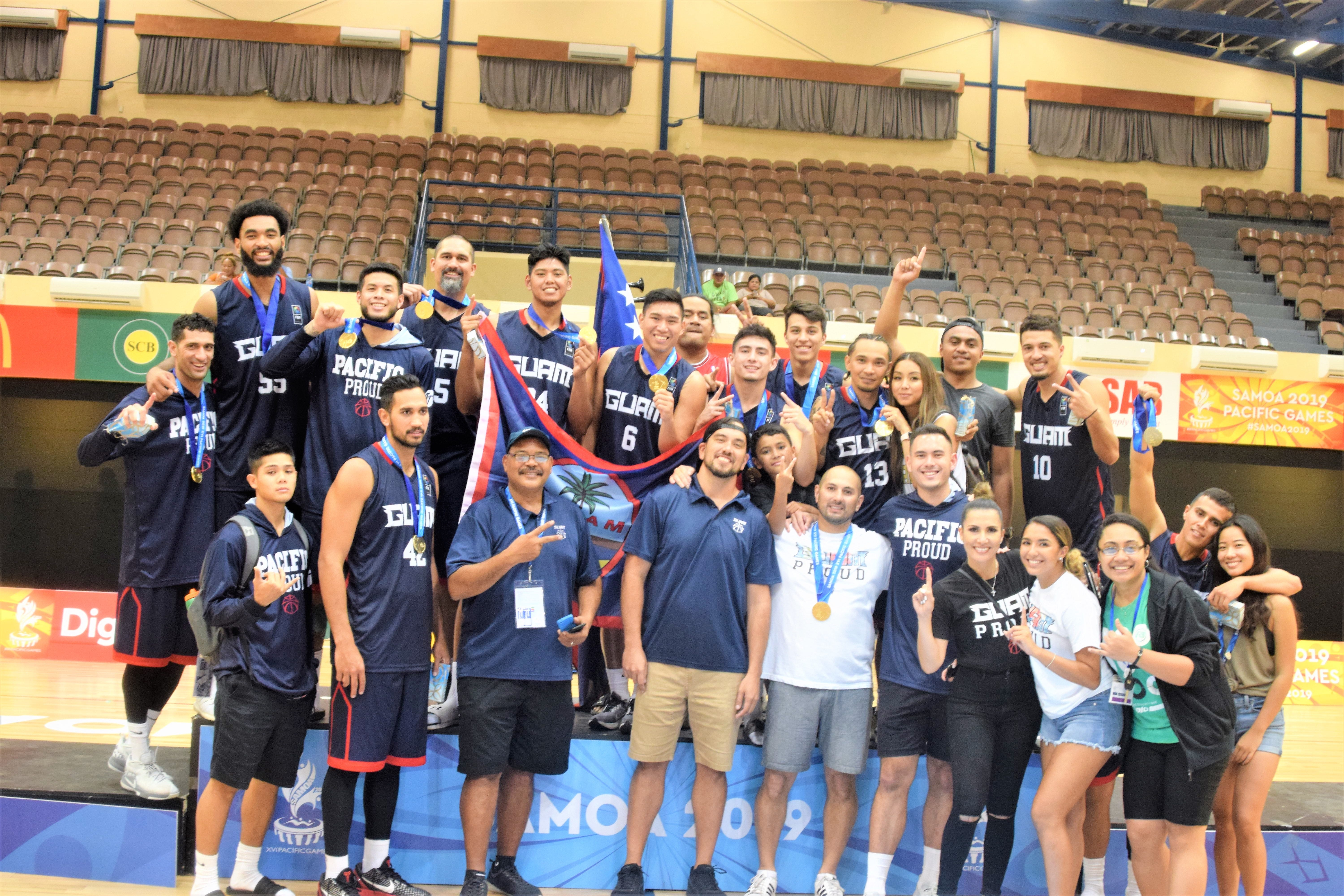 Guam successfully defended its gold medal at the XVI Pacific Games in Samoa with a convincing 83-74 victory over a tough Tahiti team. They are pictured following that game in this file photo from July 2019.