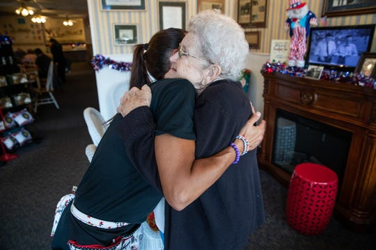 """I've always ordered the same thing, chicken salad and onion rings,"" said Betty Greeson (right), who will turn 91 years old in October. Greeson gives a hug to waitress Sheri Carr before heading home on Wednesday, July 3, 2019. ""It's just nice that the waitresses learn your name."""