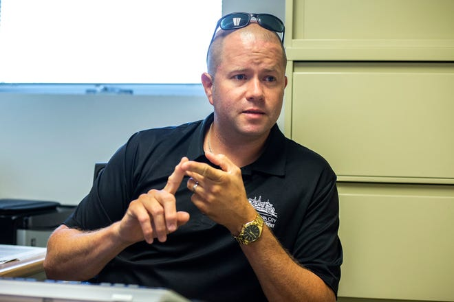 Iowa City police Sgt. Scott Stevens speaks during an interview, Thursday, July 11, 2019, in his office inside the police department at City Hall in Iowa City.