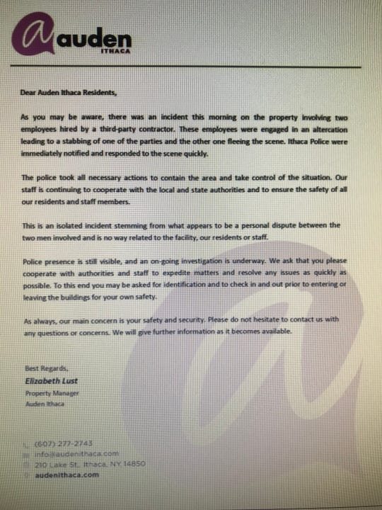 Auden Ithaca sent this letter to tenants after the incident