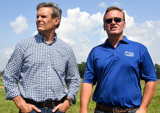 Governor Bill Lee took a helicopter tour of farm land in West Tennessee, Wednesday, July 17. Lee ended his tour after talking to Alan Meadows. Meadows' soybean farm has been affected by flood waters.
