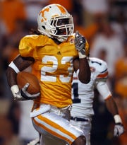 Tennessee defensive back Prentiss Waggner runs back an interception for a touchdown against UT Martin at Neyland Stadium on Saturday, Sept. 4, 2010. UT won the game 50-0.