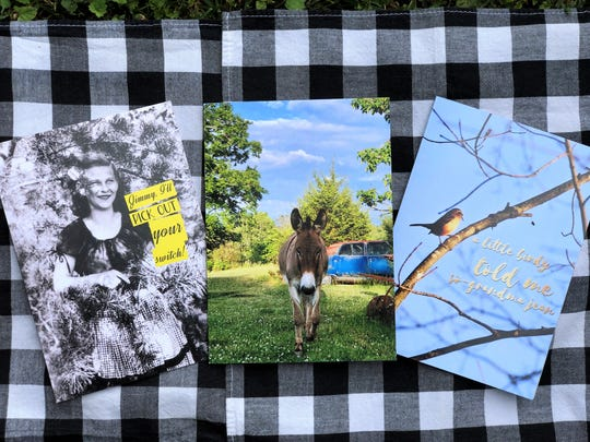 Greeting cards created from family photos and images captured on film by Heather Lynch. Lynch started selling her collection of cards and magnets at a small pop-up event before Mother's Day at Maple Hall bowling alley downtown.