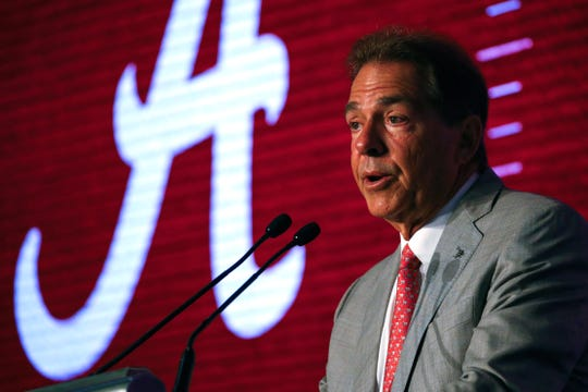 Alabama head coach Nick Saban speaks during the NCAA college football Southeastern Conference Media Days, Wednesday, July 17, 2019, in Hoover, Ala.