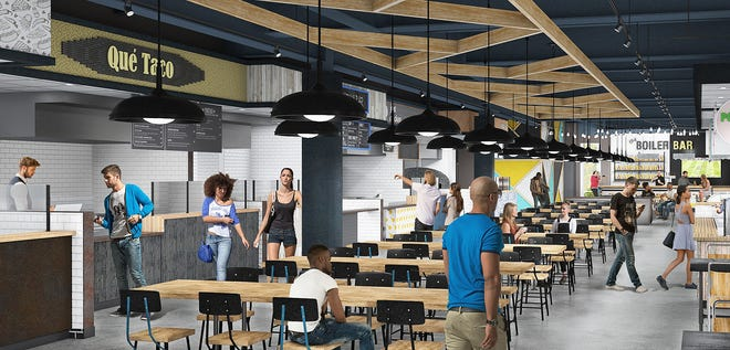 Crave Food Hall, set to open in mid-August, features an 8,000-square-foot cuisine court that will open on the first floor of the Aspire at Discovery Park apartment complex in mid-August on the west side of the Purdue University campus in Discovery Park District.