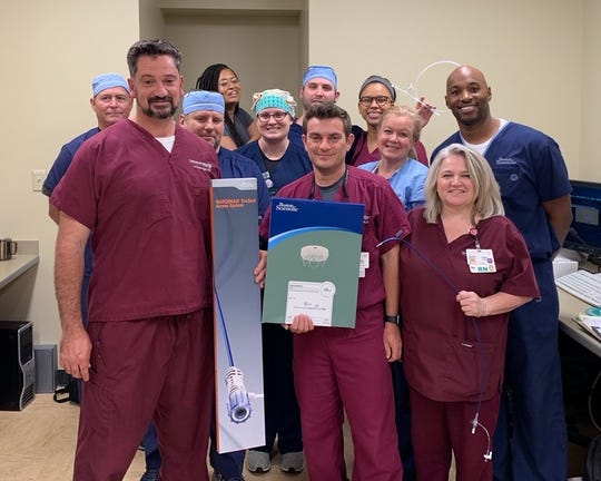 Pictured from left to right are David Guillory, RT; Dr. Louis Salvaggio, MD; Jared Hosey, RN; Olivia Smith, Boston Scientific; Cheree Landry, RT; Dr. Marc Saad, MD; Sean Blanchard, RT; Alexis Marvin, Echo; Elaine Sharpe, RN; Cindy Langley, RN and Stewart McCall, Boston Scientific.