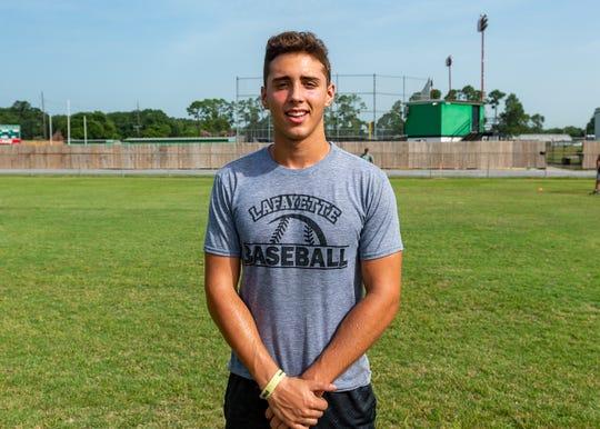 Alexander Saunier during summer workouts at Lafayette High School in Lafayette, La., Thursday, June 27, 2019.